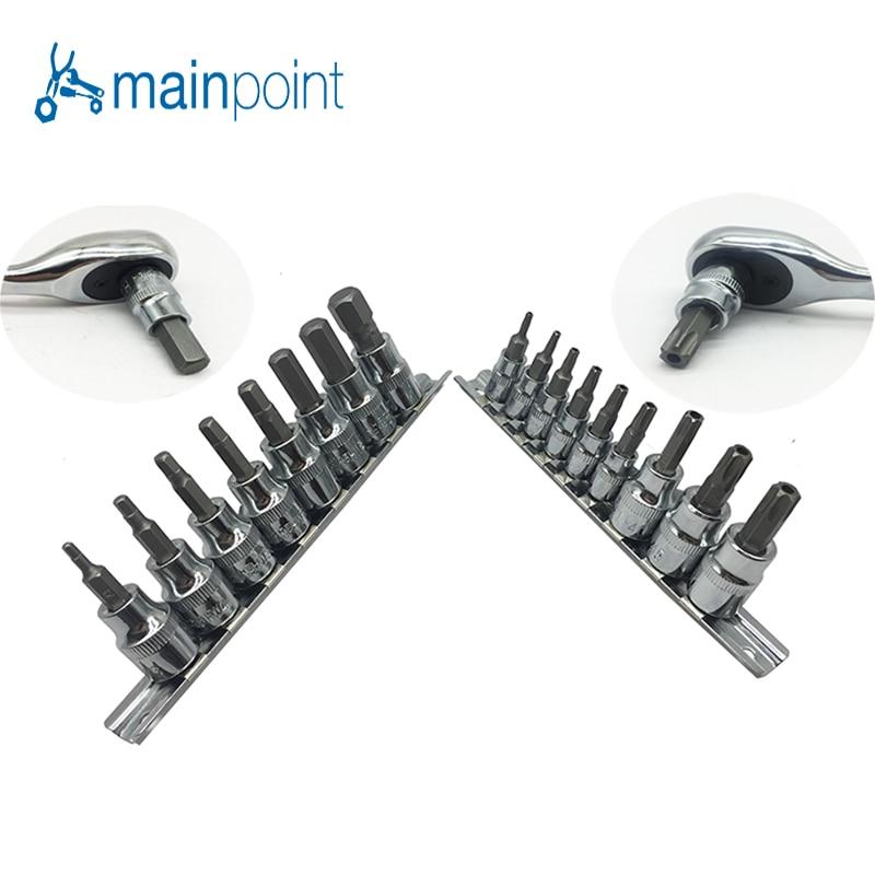 Mainpoint 2 Set Socket Wrench Hex Bit Socket Chiave A Brugola E Tamper Proof Torx Stella Bit Auto Mano A Cricchetto Strumenti Drive Adapter Set