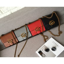 women leather winter bag metal CHAIN lady cross body Gbag shoulder box bag with metal brand