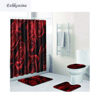 Free Shipping Rose and Tree Casa De Banho Banyo Bathroom Carpet Toilet Bath Mat Set Non Slip Tapis Salle De Bain Alfombra Bano
