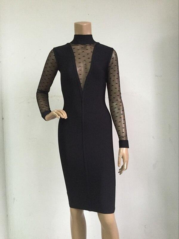 Black lace top long sleeve pu bodycon dress