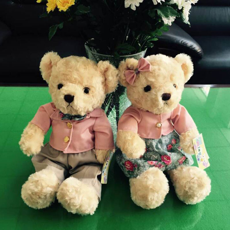 (A pair) 30CM Kawaii Teddy Bear Plush Toy Stuffed Couple Bears Soft Kids Toys Baby Huggable Dolls Children Girls New Year Gifts fancytrader big giant plush bear 160cm soft cotton stuffed teddy bears toys best gifts for children