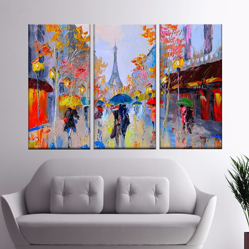 Paris Street Scene Oil Painting Colorful Europe Streetscapes Hand Painted Canvas Paintings Home Decor Wall Art 3 Panel Pictures