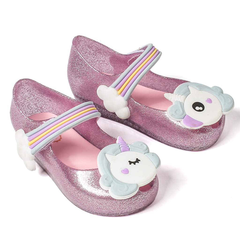 2018 New Summer Melissa Dargon Sandals Mini Unicorn Shoes New Winter Jelly Shoe Fish Mouth Girl Non-slip Kids Sandal Toddler