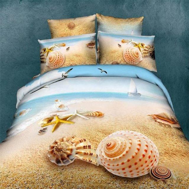 Plage Shell Starfish 3d Impression D Huile Literie Ensemble Queen