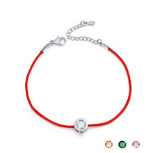 Fashion Red String Thread Rope Bracelet Small Cubic Zirconia CZ Bracelets For Women Handmade Crystal Jewelry Lovers(China)