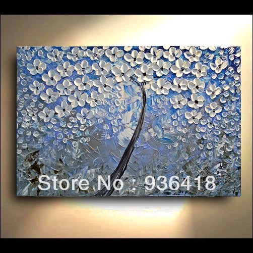 Blue Grey White Abstract Art Painting Tree Flower Large Modern Contemporary Home Decoration Wall
