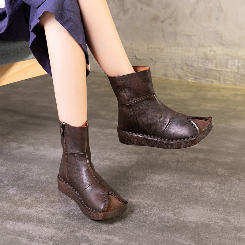 Artdiya Original Genuine Leather Folk Style Women Boots Soft Handmade Retro Autumn and Winter Retro Women's Shoes Mid-Calf Boots