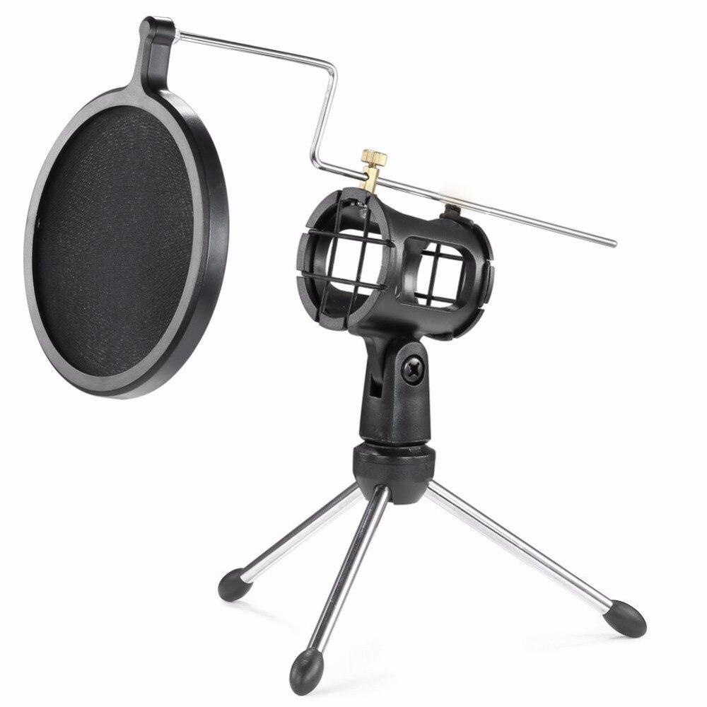 Microphone Stand avec Mesh Filtre Anti-Pop pour Bavarder En Ligne/Enregistrement/Chant/Webcast Trépied Stand Support pour iphone Samsung