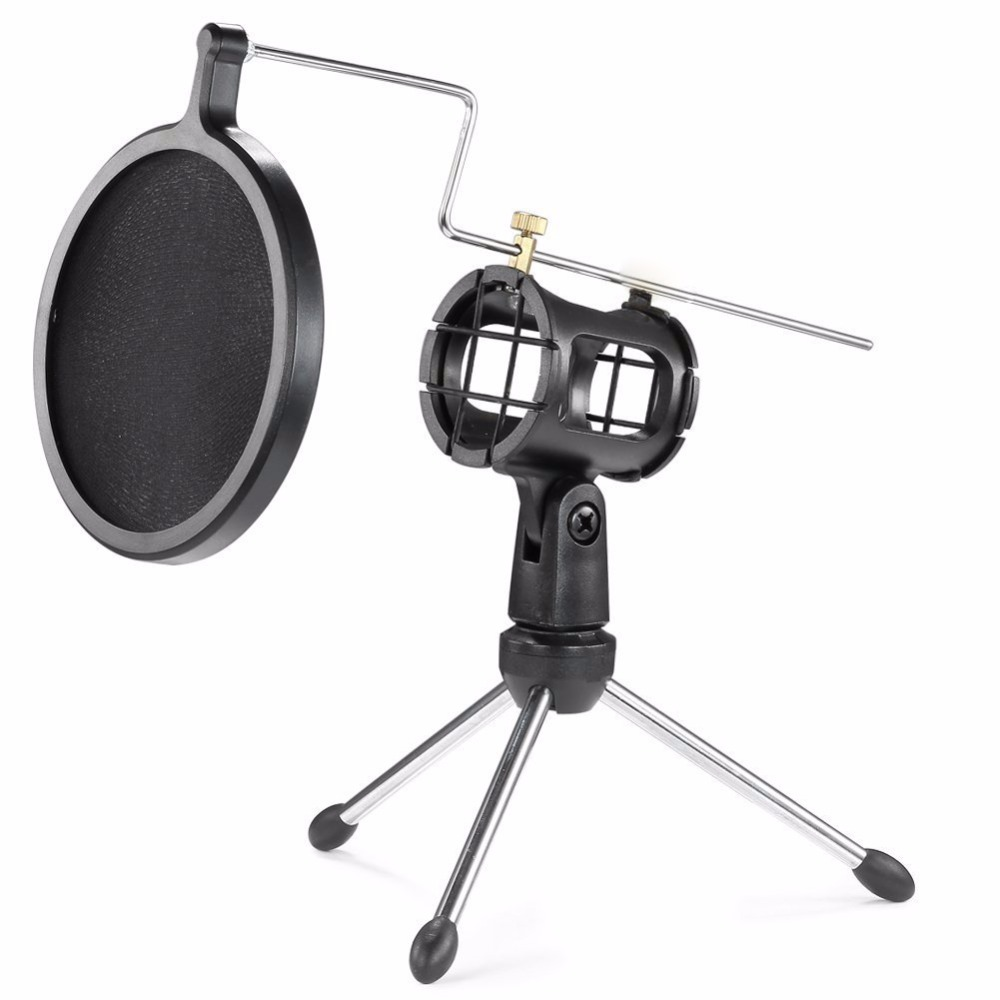 Microphone Stand with Mesh Pop Filter for Online Chatting/Recording/Singing/Webcast Tripod Stand Holder for iphone Samsung