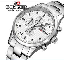 Switzerland men's watch luxury brand Wristwatches BINGER Quartz full stainless male watch steel waterproof 100M BG-0401-5