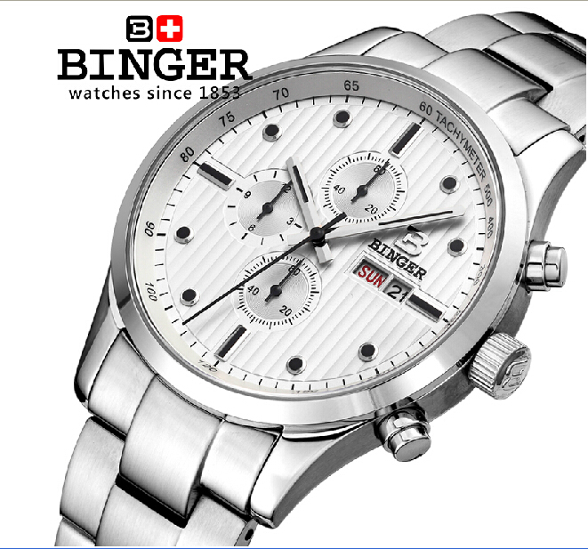 Switzerland men's watch luxury brand Wristwatches BINGER Quartz full stainless male watch steel waterproof 100M BG-0401-5 2016 switzerland luxury watch men binger brand quartz full stainless wristwatches waterproof complete calendar guarantee b3052b6