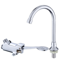 Kitchen Water Faucet Foot Pedal Valve Copper Bathroom Basin Faucet Single Cold Tap Hospital Hotel Pedal Water Faucet a1002 single ended table style angle faucet pure copper water nozzle laboratory water tap faucet