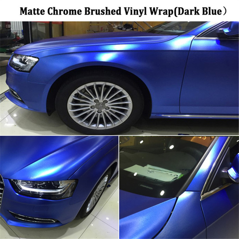 PVC Waterproof Chrome Vinyl Wrap Car Sticker Wire Drawing Brushed Ice Film Automobiles Motorcycle 5ft X 65ft/Roll for Whole car