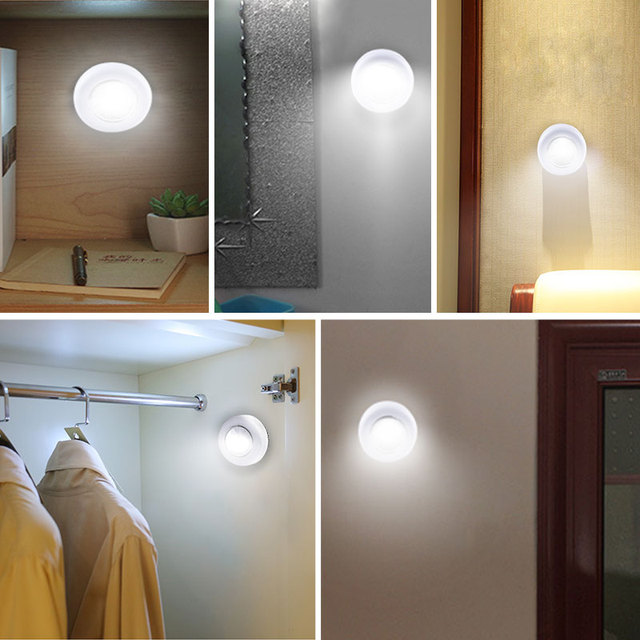 AmmToo Motion Sensor Night Lamp Battery Powered Cordless Wall Lamp Luces LED Under Cabinet Light Kitchen Bedroom Closet Lighting 5