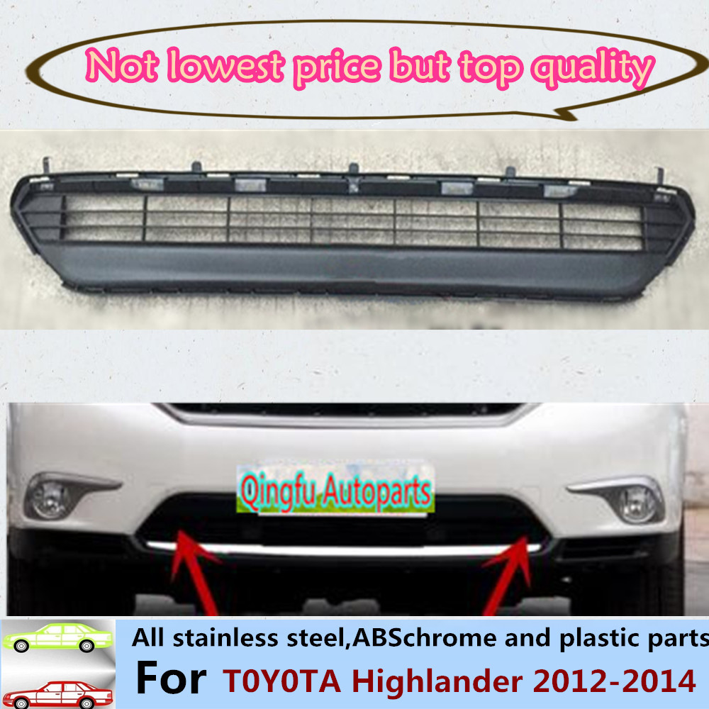 Car styling cover bumper engine ABS Chrome trim Front bottom Grid Grill Grille edge panel 1pcs For Toyota Highlander 2012-2014 chrome front bottom grill grid grille cover trim for mazda 3 axela m3 2014 2016