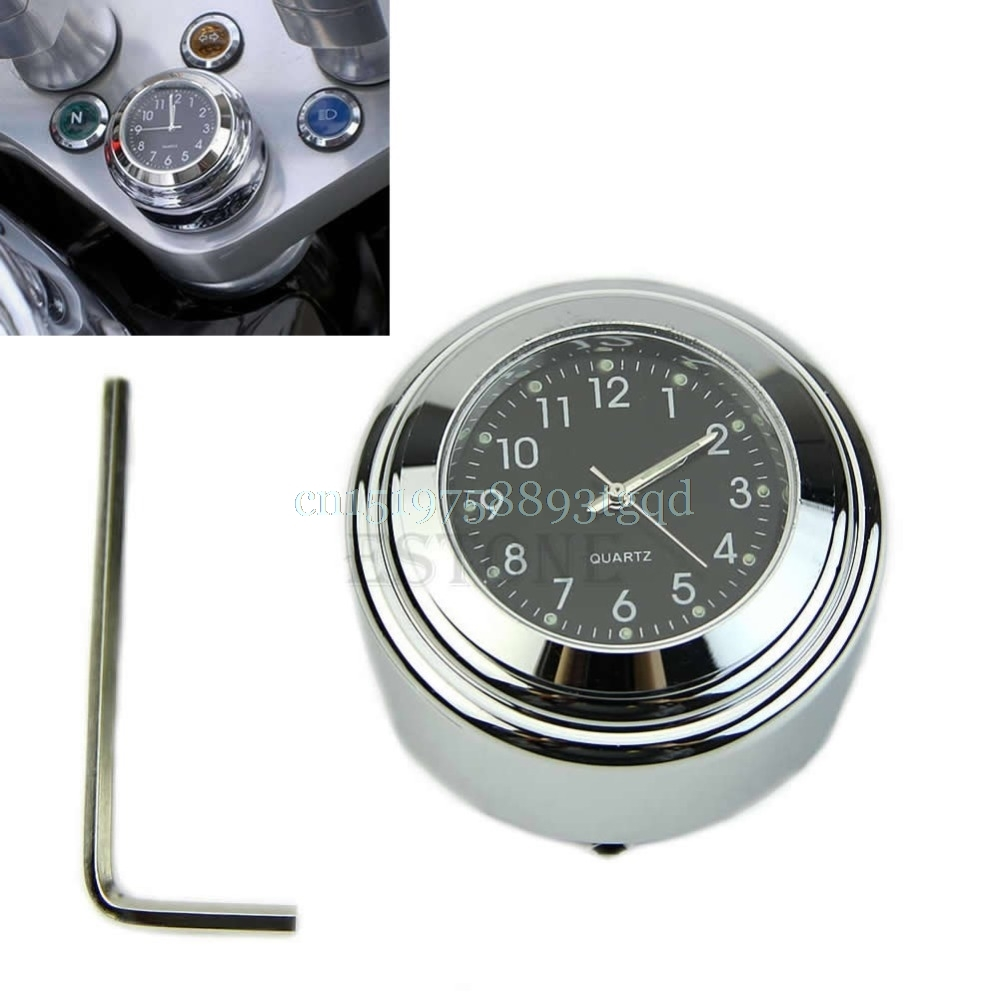 "7/8 ""1"" Motorcycle Bike Chrome Orologio quadrante nero impermeabile con quadrante nero"
