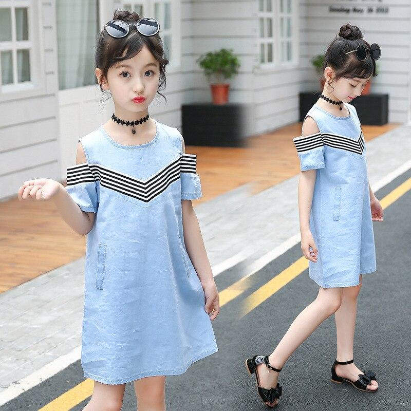 9 Color Girl Denim Dress New Summer Simple Stripe Denim Design 4 5 6 7 8 10 11 12 13 14 Years Kids Dresses for Girl Beach Dress girl