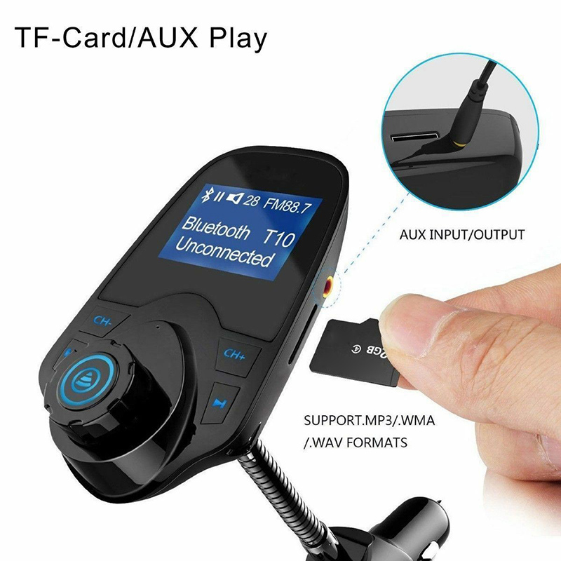 New Wireless Bluetooth FM Transmitter Car Charging MP3 Player LCD Display Car Support TF Card Aux Play