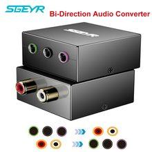 Conversor de áudio bidirecional sgeyr 5.1, adaptador de console de jogos conversor tampões rca para um único 5.1 para 1/8 caixa de som multimídia,