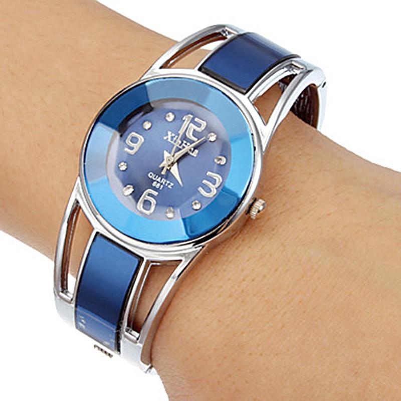2017 Hot Sell Xinhua Bracelet Watch Women Blue Luxury Brand Stainless Steel Dial Quartz Wristwatches Ladies Fashion Watches