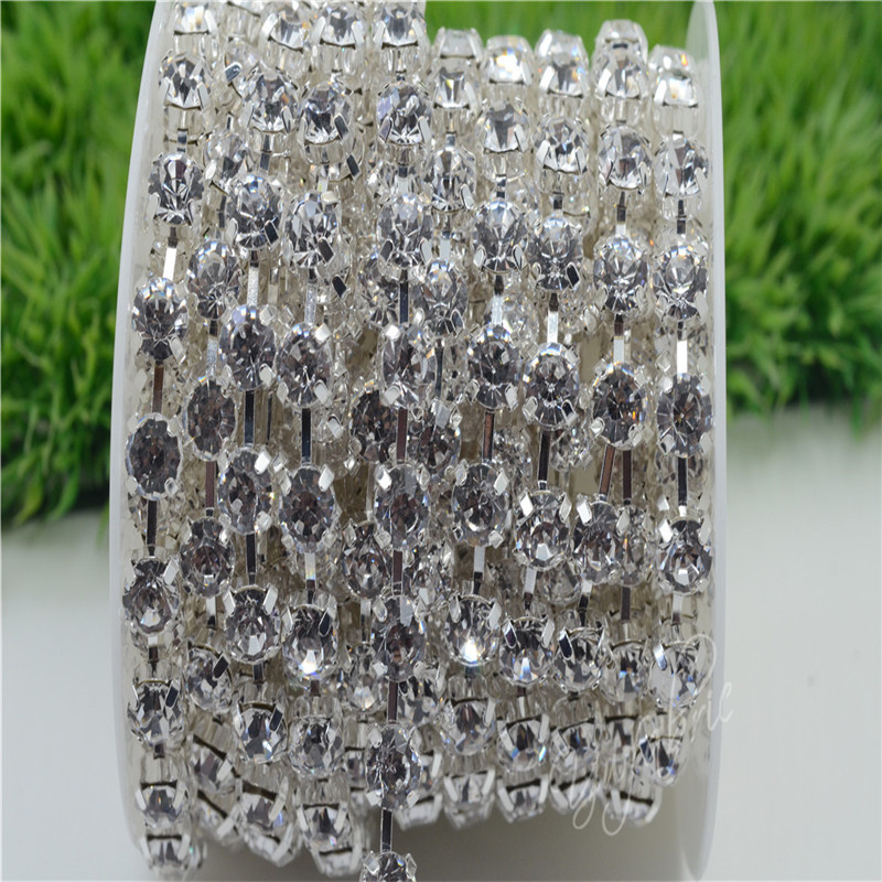 6/8mm Top Quality Sparkle Crystal Clear Rhinestone Handmade Silver Strong Chain Costume Dress sew on ss28-ss38 10yards