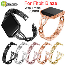 23mm Stainless Steel WatchBand For Fitbit Blaze smart replacement watch band Wrist Strap For Fitbit Blaze bracelet + Case Cover crested for fitbit blaze frame replacement stainless steel case activity tracker smart watch accessories