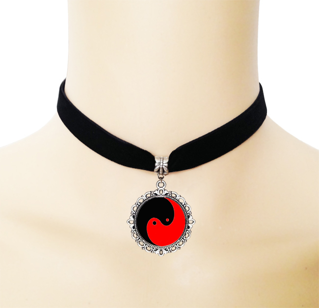 Buy Red and black yin yang cross necklace gothic style ribbon choker necklace glass Tai Chi picture jewelry Taoism handmade necklace for $2.54 in AliExpress store