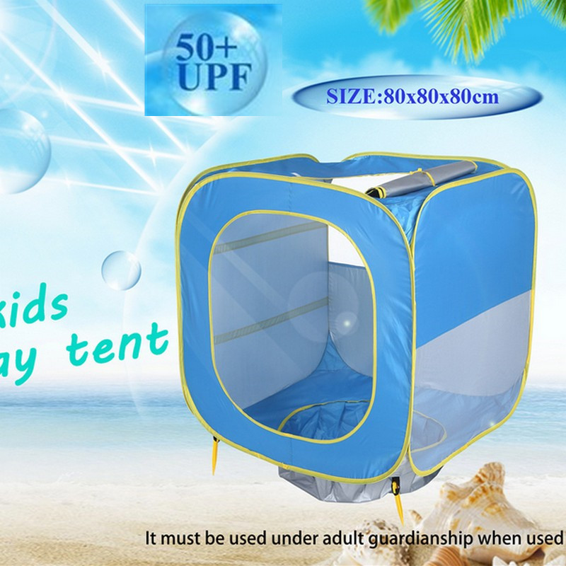 Square Baby play tent swimming pool tent Beach Tent with Pool and Fluorescent Wristband 50+UPF Sun Shelter for newborn