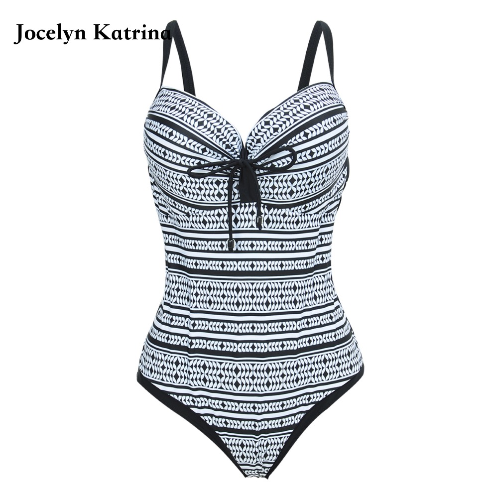 Jocelyn Katrina 2017 New One Piece Swimsuit Women Vintage Bathing Suits Plus Size Swimwear Beach Padded Black Swim Wear 5XL jocelyn katrina female professional sport one piece suits swimwear one piece monokini plus size bodysuit bathing suit beach