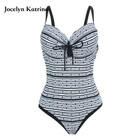 Jocelyn Katrina 2017 New One Piece Swimsuit Women Vintage Bathing Suits Plus Size Swimwear Beach Padded Black Swim Wear 5XL