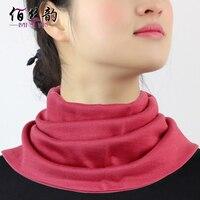الخريف الحرير الكشمير الياقة المدورة الإناث طبقة دافئة سميكة طوق صغير
