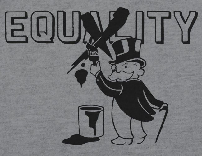 Fashion Men T Shirt Free Shipping New 1% MONOPOLY Parody EQUITY VS. EQUALITY Shirt, Occupy Poverty Koch <font><b>Protest</b></font> Tee Shirt image