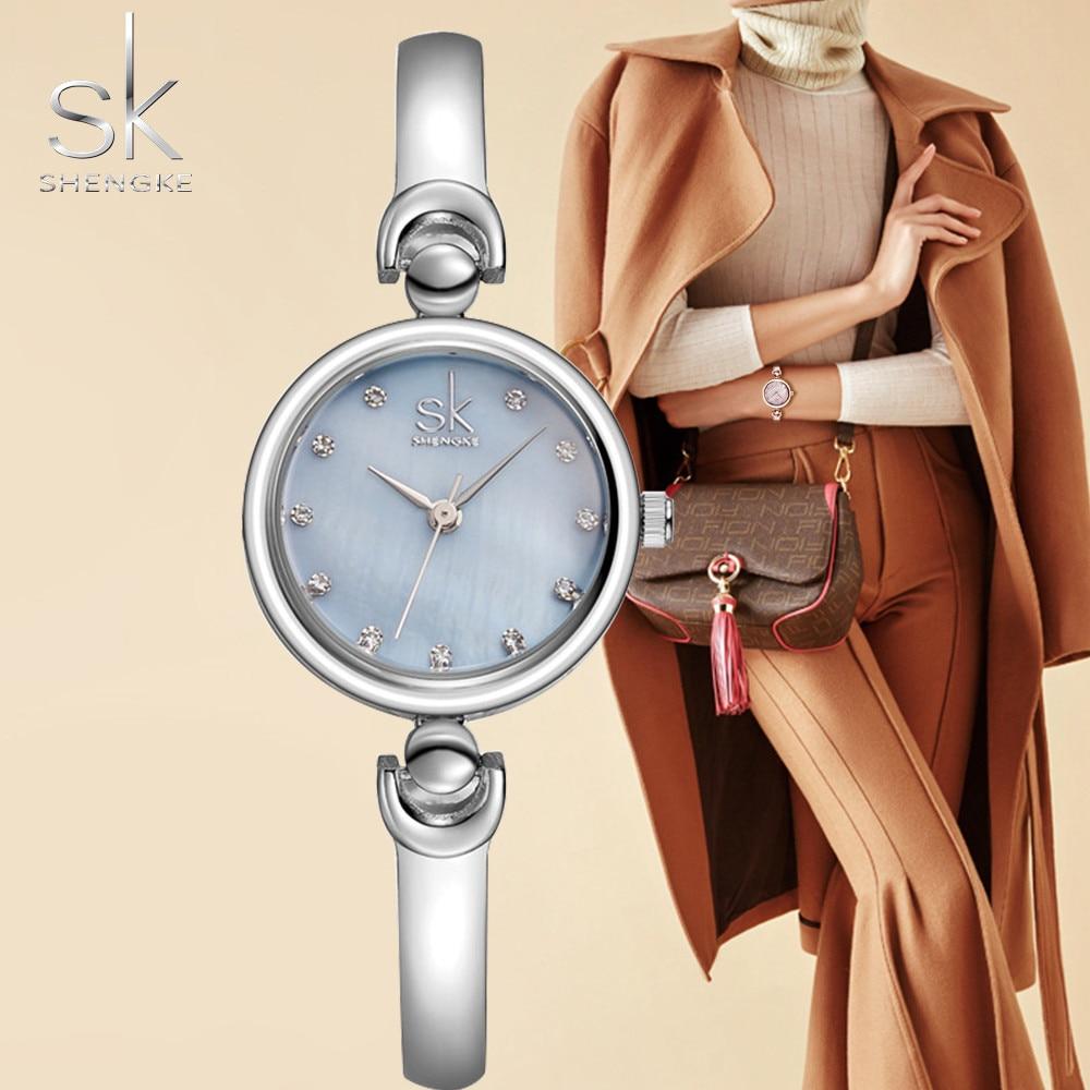 Rhinestone SK Top Luxury Brand Steel Quartz Watch Fashion Women Clock Female Lady Dress Wristwatch Gift Silver Gold Motre Femme