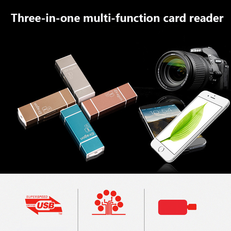 MicroSD SD TF USB2.0 MicroUSB Lightning I-Flash OTG Universal Memory Card Reader Design For Ipad IPhone Android Phone PC