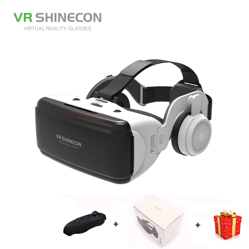 Casque 3D Glasses VR Shinecon Box Headset Virtual Reality Glasses Google Cardboard For Smart Phones Smartphone Lens Remote Game vr shinecon sc g02e vr glasses with headphones 3d virtual reality glasses box pro cardboard box for 4 7 6 inch smart phone