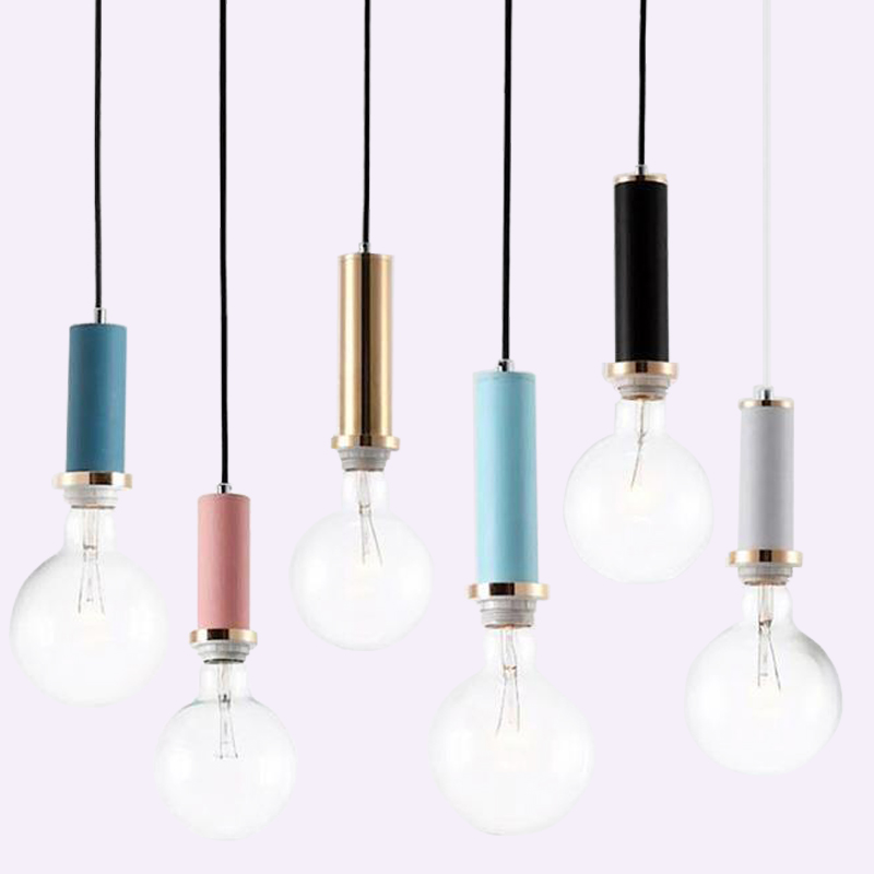 Nordic Simple Multicolor Aluminum Tube Pendant Lights Modern Bedroom Bedside Dining Room Hanging Lamp Bar/cafe Lighting Fixtures