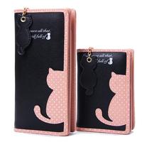 Fashion Women   Wallets   Zipper Lady Handbags Clutch Coin Purse Cards Holder PU Leather Brand Cat Woman   Wallet   Moneybags Burse Bags
