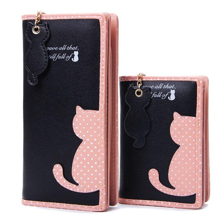 Mode-frauenmappen Reißverschluss Dame Handtaschen Kupplung Geldbörse Kartenhalter Pu-leder Marke Cat Frau Brieftasche Geldsäcke Burse Taschen