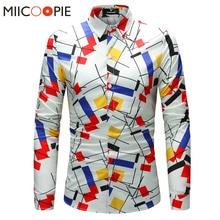 Casual Shirts Men Brand Slim Fit Men Geometric Pattern Printing Long Sleeve Social Shirt Men Brand Clothing Camisa 4XL