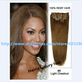 7A African American  Clip in Human Hair Extensions Silky Straight Hairia Luxury Hair #08 Light Chestnut 8pcs160g 22inch