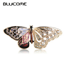 Blucome 2018 Colorful Butterfly Shape Brooch Crystals Insects Corsage Pins For Women Girls Dress Collar Hats Suit Accessories