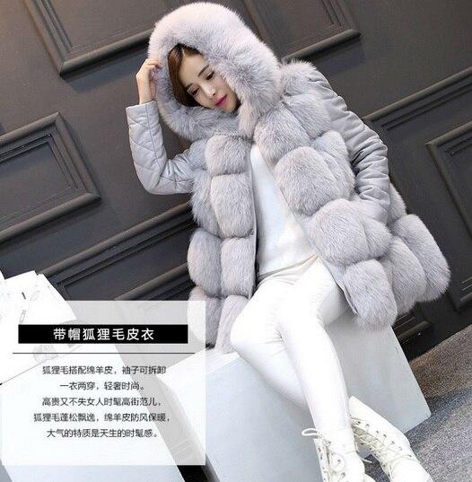 Sans Hiver Manches Gilet Femmes Fourrure 2018 Avec Casaco Outwear De Garniture Automne Manteau Surdimensionné Femme Wa45 Vestes Faux Capot 5qZ47Pfw