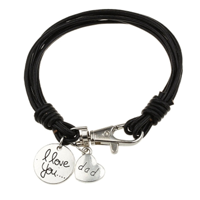1pc Heart Charm Bracelet Carved Dad Love Message Fit Fathers Day Gifts Leather Bracelets