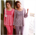 2016 Nuevas Llegadas 100% Mujeres del Algodón Pijamas de manga Larga ropa de Dormir conjunto de Salón de Las Mujeres Pijama Pijama Casual para mujeres Pijama