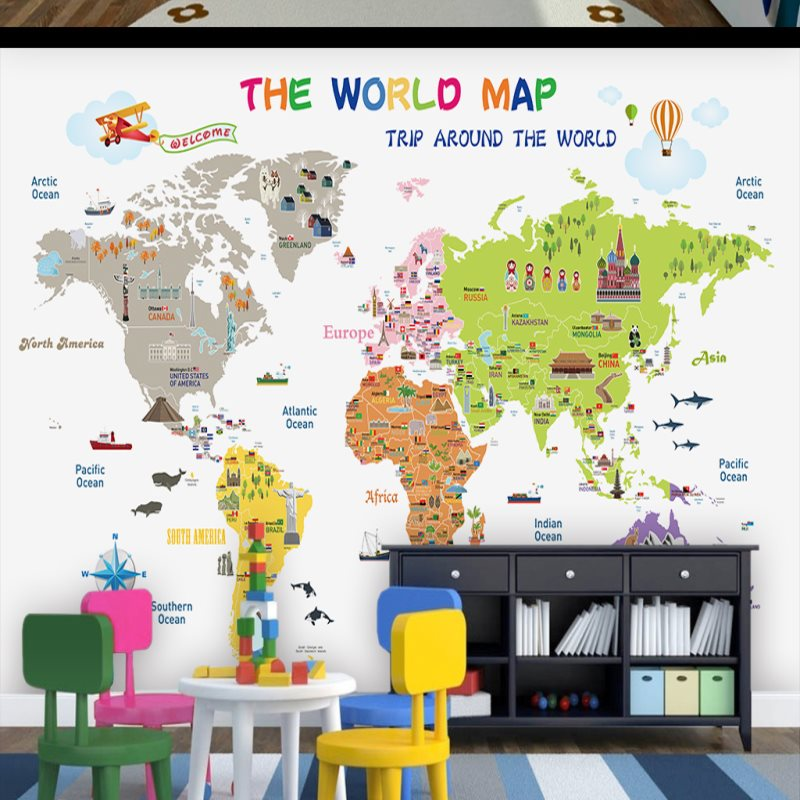 Large custom mural wallpaper bedroom childrens room background wall large custom mural wallpaper bedroom childrens room background wall paper cartoon world map wallpaper in wallpapers from home improvement on aliexpress gumiabroncs Gallery