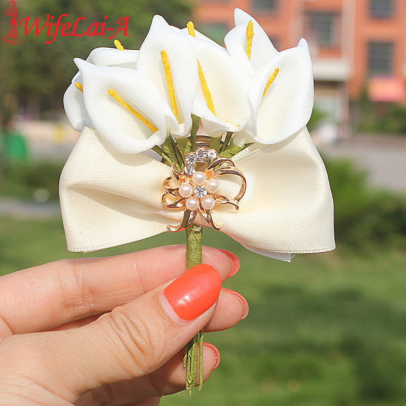 New 2pcs/lot Ivory Bow Tie Calla Lily Flowers Wedding Corsages Boutonniere Groom Gold Diamond Crystal Wedding Brooch Flower Pin