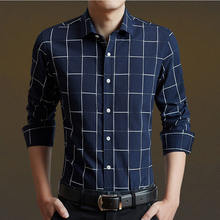 1bac46b1f2b Men Shirt Mens Business Casual Shirts Nice New VogueMen Famous Brand  Clothing Plaid Long Sleeve Camisa
