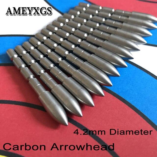 12pcs חץ וקשת 4.2mm ראשי חץ ירי בפועל פנימי הכנס סוג נקודת יעד טיפים ציד אביזרי משמש פחמן חץ פיר