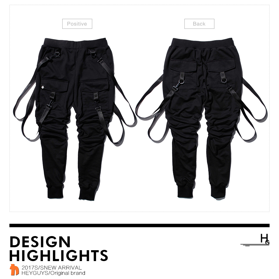 HEYGUYS 2019 fashion fitness Pant Men pants sweatpants Trousers Fashion Bottoms street wear hip hop pencil pants with belt 48