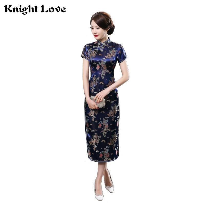 15Colors Chinese Traditional Dress Female Silk Satin Cheongsam Short Sleeve Long Dress Qipao Flower Print Split Wedding Dress silk